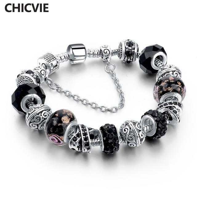 Chicvie черный кристалл звено цепи Браслеты для Для женщин женский шарм пользовательские Браслеты DIY Серебряный Цвет Jewelry sbr160014