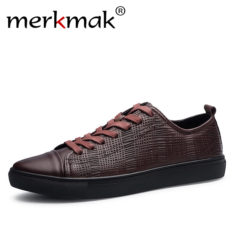 Merkmak 2018 New Fashion Men Genuine Leather Shoes Leisure Male Casual Leather Oxford Shoes Comfortable Man Soft Driving Flats
