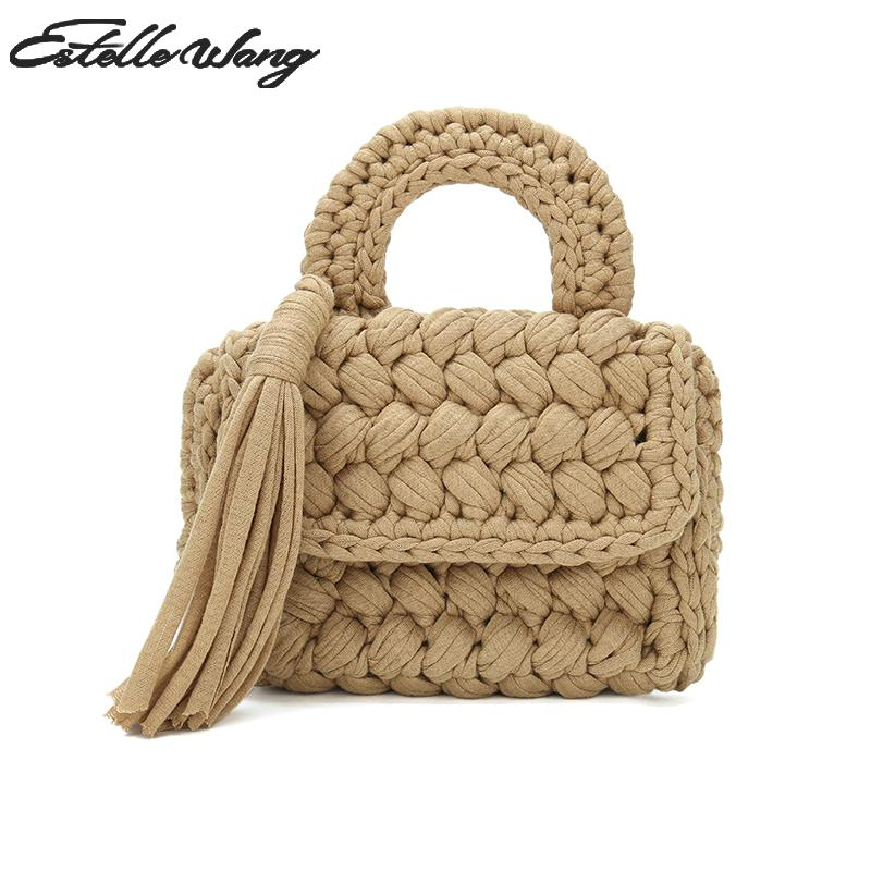 Estelle Wang Cotton Fabric Small Top-handle Tassel Bags Fashion Women Knitting Summer Handmade Knitted Travel Handbag Cloth Bag