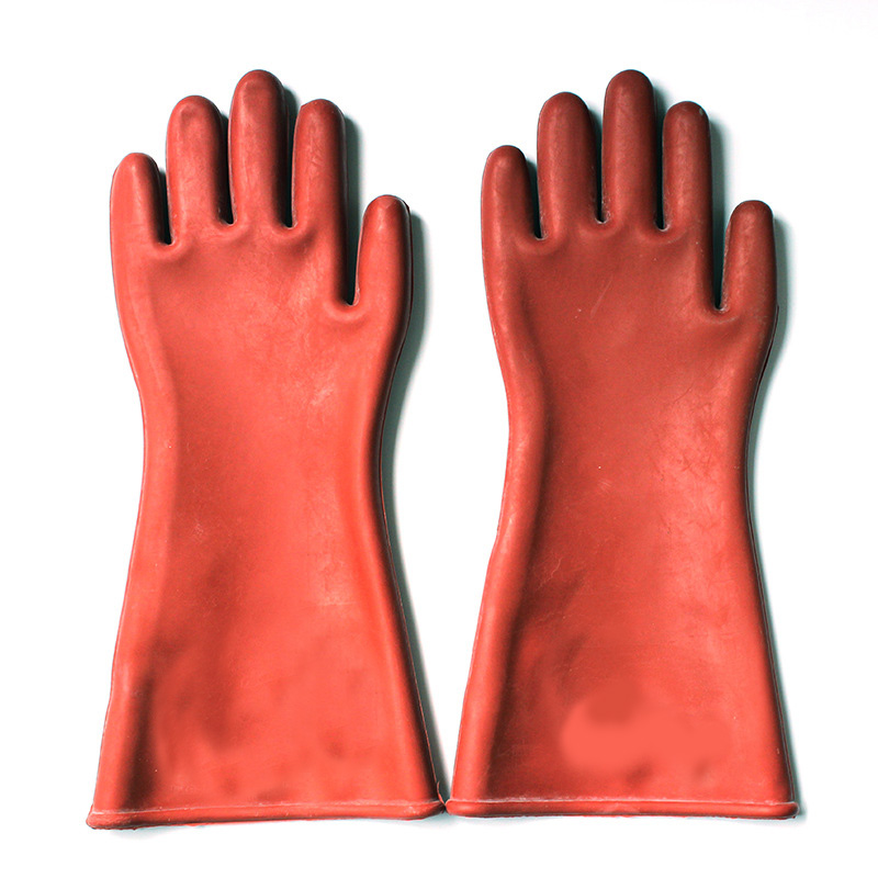 Electrical Insulation Gloves Red Rubber Electricity Labor Protective Gloves insulated gloves electric gloves 5kv anti live live work high pressure live work labor protection protective rubber gloves