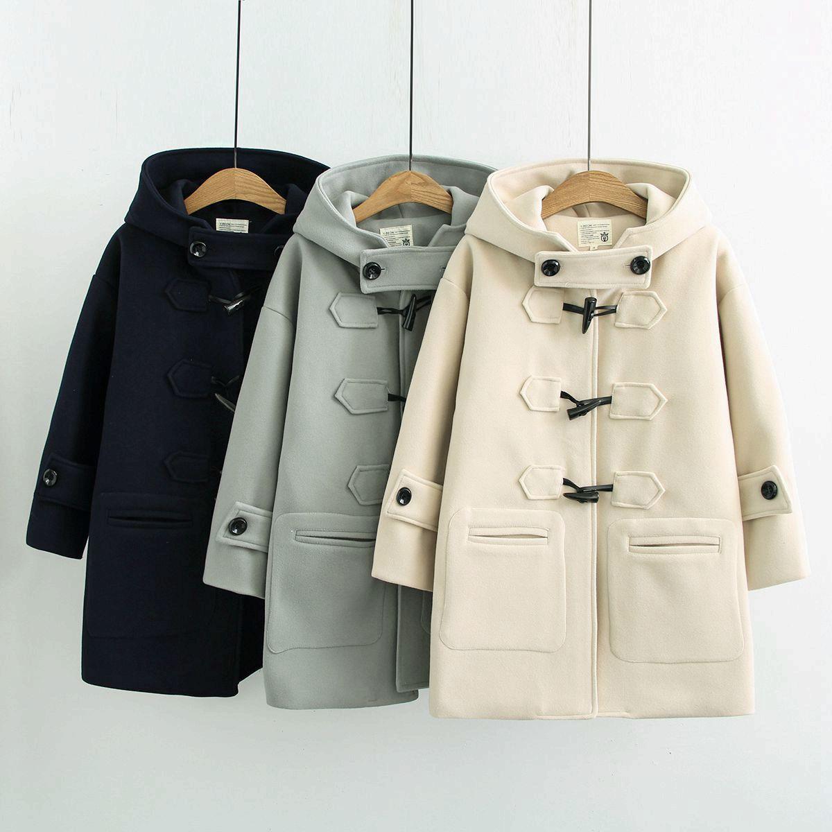 2018 Cow horn buckles coats women autumn and winter  long woolen coat hooded student small coat
