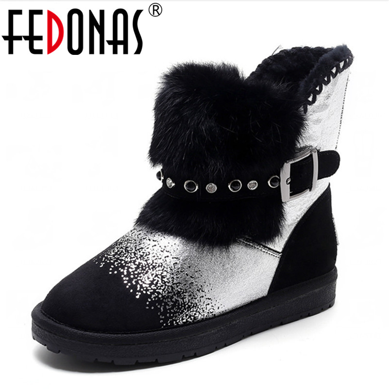 FEDONAS Fashion Women Crystal Snow Boots Shearling Winter Genuine Leather Boots Keep Warm Wool Flats Heels Fur Boots Shoes Woman fedonas fashion women cow suede genuine leather warm wool plush snow boots winter shoes woman heels ankle boots casual shoes