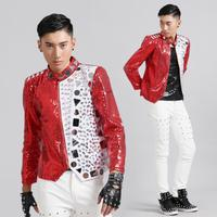 blazer men red suits designs jacket mens stage for singers clothes dance star style dress punk England clothing stand collar