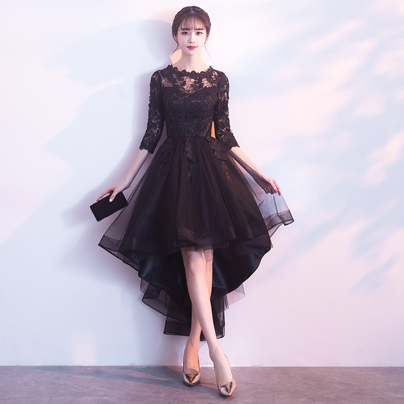 Banquet Prom Dresses 2019 New Short Front Long Back Elegant Party Dresses Black Evening Dresses Half Sleeve Haute Couture