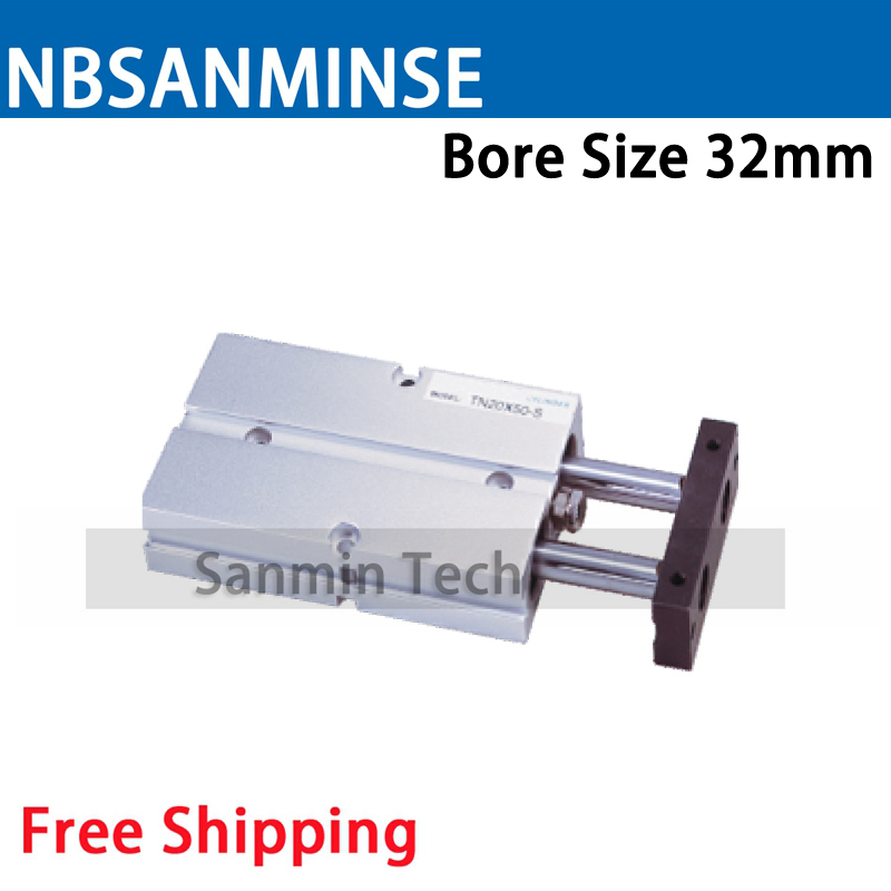 TN Bore 32mm Double Acting With Magnet Air Pneumatic Cylinder High Quality Pneumatic Parts NBSANMINSE cxsm32 30 high quality double acting dual rod piston air pneumatic cylinder cxsm 32 30 32mm bore 30mm stroke with slide bearing
