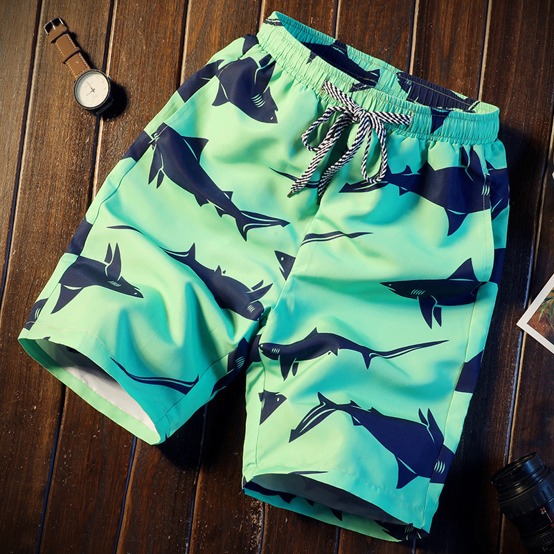 Men Short 16 Style Shorts Men Summer Shark Beach Print Quick Dry Short Trousers Causal Drawstring Sportwear Male Shorts CN Size