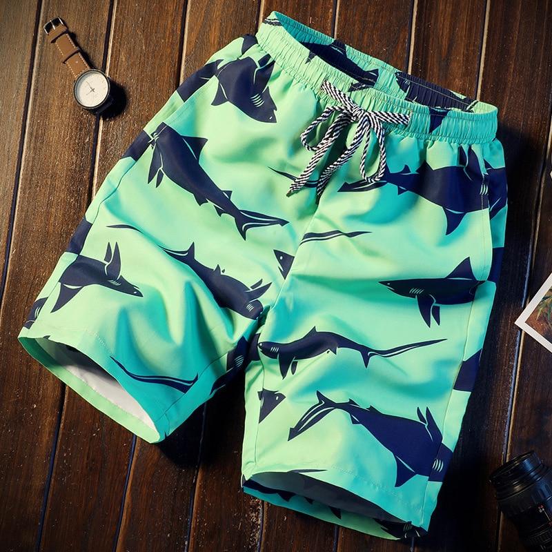 Men Short 16 Style Shorts Men Summer Shark Beach Print Quick Dry Short Trousers Causal Drawstring Sportwear Male Shorts CN Size