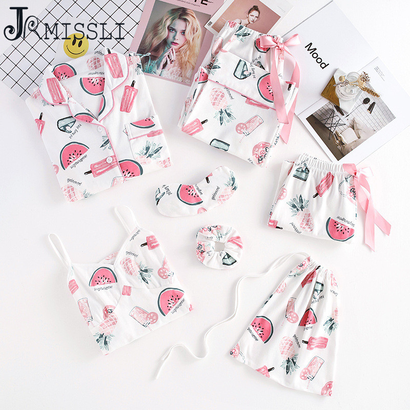 JRMISSLI Cotton watermelon Print Pajamas Set 7 Piece Set Patchwork Woman Pajama Suit Spring Autumn Female Strapless Nightie