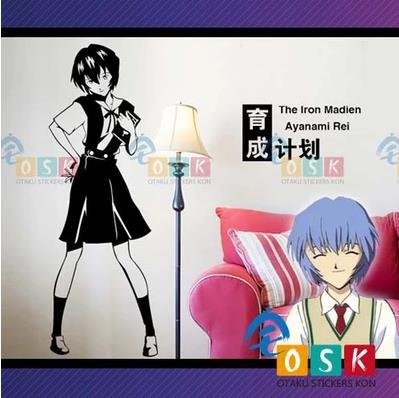Japanese Cartoon Fans Neon Genesis Evangelion Ayanami Rei Vinyl Wall Stickers Decal Decor Home Decorative genesis genesis turn it on again the hits