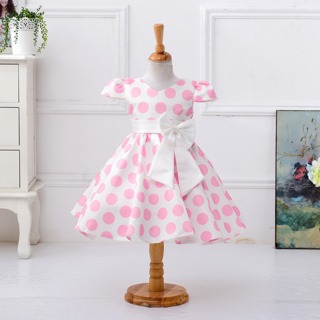 0fa40031d5 The newest Girl Dress Girls Polka Dot dress child Wedding dress Costumes  girl outfits Short sleeve with bow-in Dresses from Mother & Kids