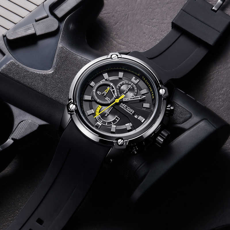 MEGIR mode hommes montre Top marque de luxe chronographe étanche Sport hommes montres Silicone automatique Date montre-bracelet militaire