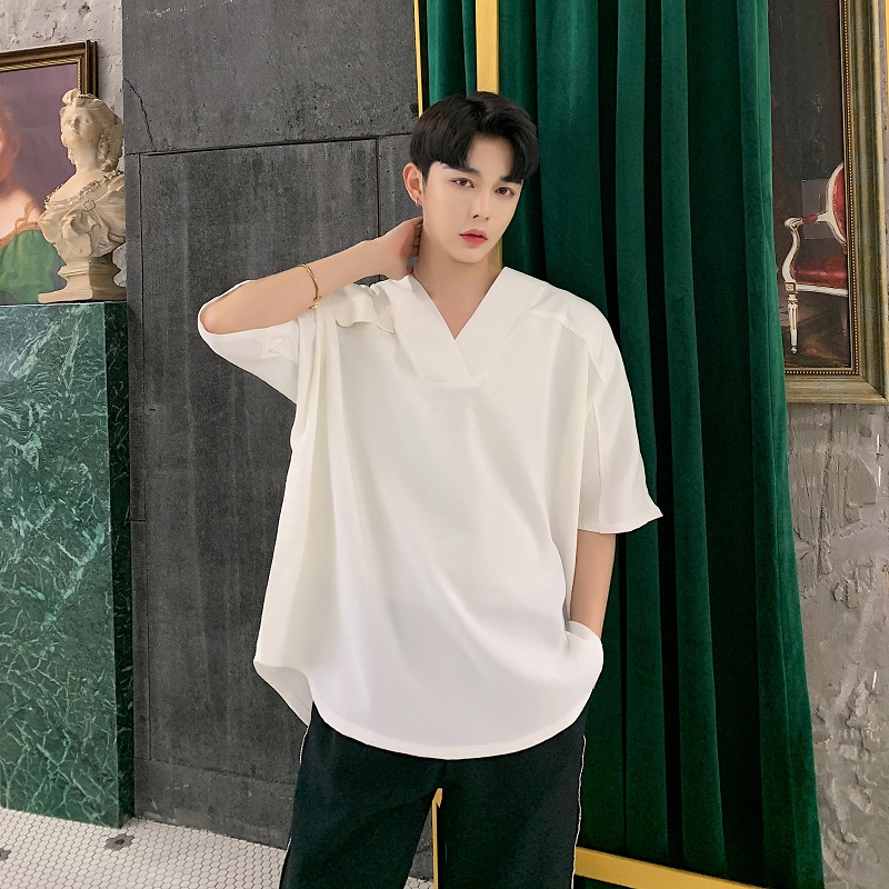 Male Streetwear Punk Gothic Tees Shirts Men Short Sleeve Loose Cotton Linen V-neck Oversize Casual Pullover Shirts