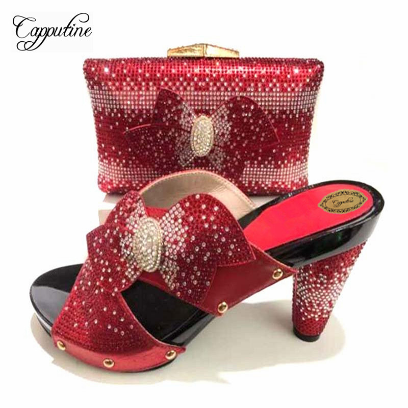 Capputine High Quality Rhinestone Woman Red Shoes And Bag Set African Summer High Heels Shoes And Purse For Party Size 37-43 capputine summer style africa low heels woman shoes and bag fashion slipper shoes and purse set for party size 38 42 tx 8210