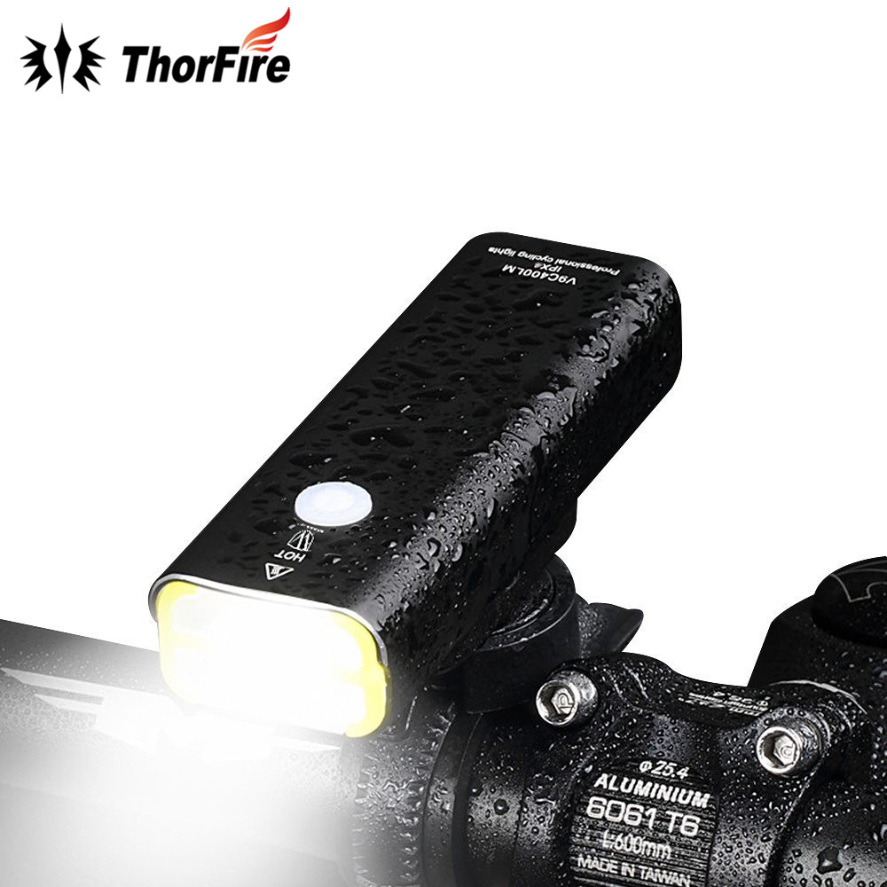 где купить ThorFire Super Bright LED USB Waterproof Rechargeable Bike Light Bicycle Front Light Headlight for Cycling Safety Flashlight дешево