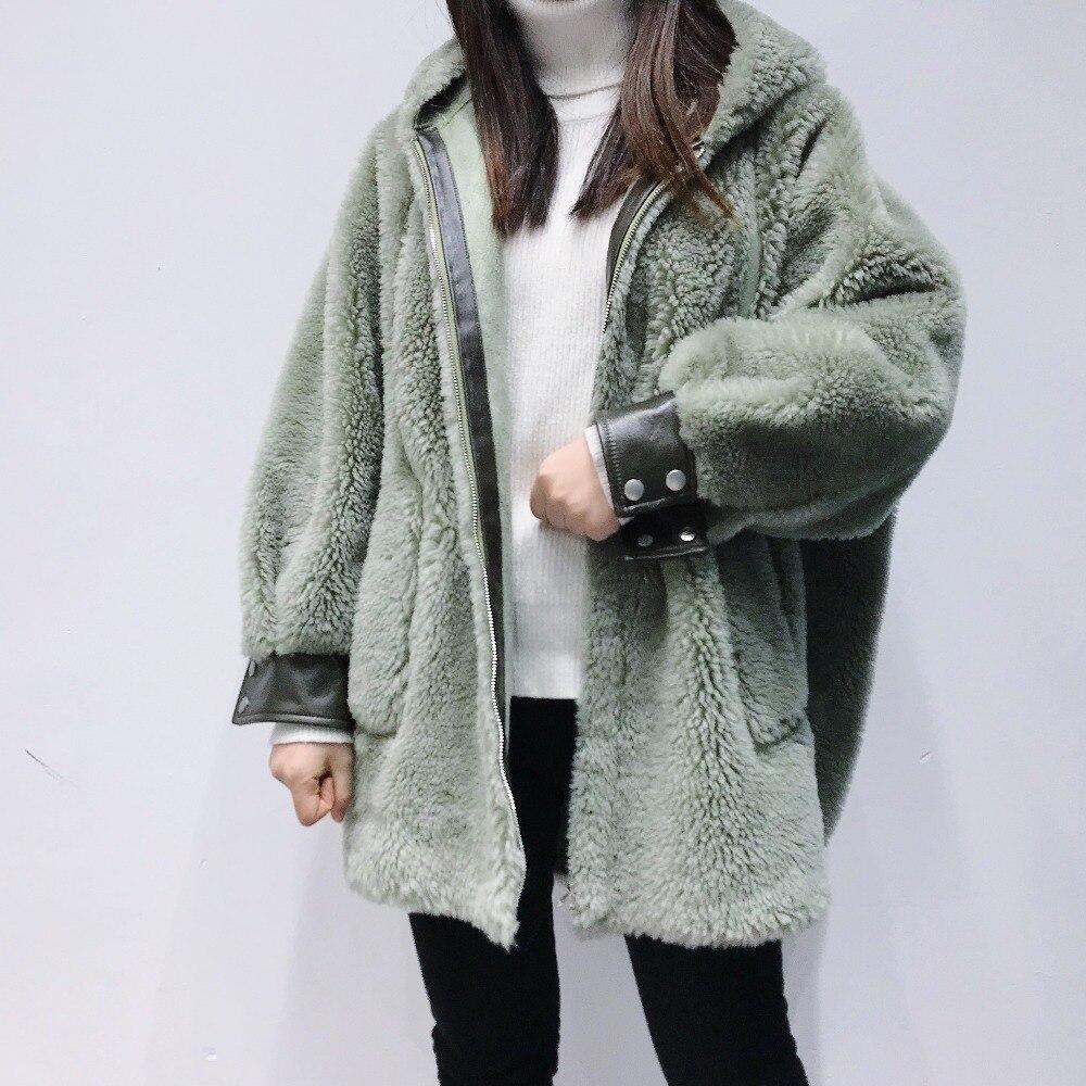 Avec Dames Poche Nouvelle Manteaux Agneau Surdimensionné Épais Femmes 2018 Fourrure D'hiver Laine Réel Mode Capuche Vestes Et Solide De Manteau pnnC6wzq