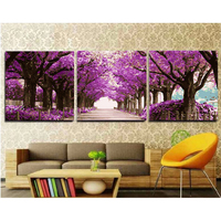 Home Decor Purple Flower Road Hand Painted Canvas Triptych Oil Paintings Wall Pictures For Living Room