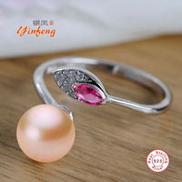 Elegant 925 Sterling Silver Ring For Women Fashionable Ring 7 8 Mm Genuine Freshwater Pearl Jewelry