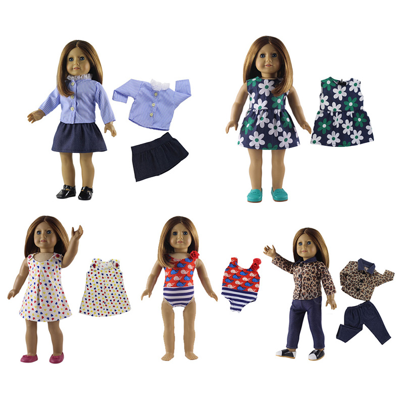5PCS/Set 18 inch American Doll Clothes Fashion Casual Baby Girl Doll Clothing Set DIY Doll Dress Swimsuit Tops Pants Outfits fashion 7 sets clothes outfits suitable for 18 american girl doll colorful tops pants with hat dress pajamas christmas gift