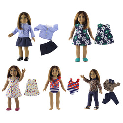 5PCS/Set 18 inch Doll Clothes Fashion Casual Baby Girl Doll Clothing Set DIY Doll Dress Swimsuit Tops Pants Outfits