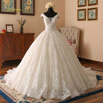 Loverxu Vestido De Noiva V Neck Lace Ball Gown Wedding Dresses 2019 Cap Sleeve Embroidery Beaded Vintage Bridal Gown Plus Size - DISCOUNT ITEM  20% OFF All Category