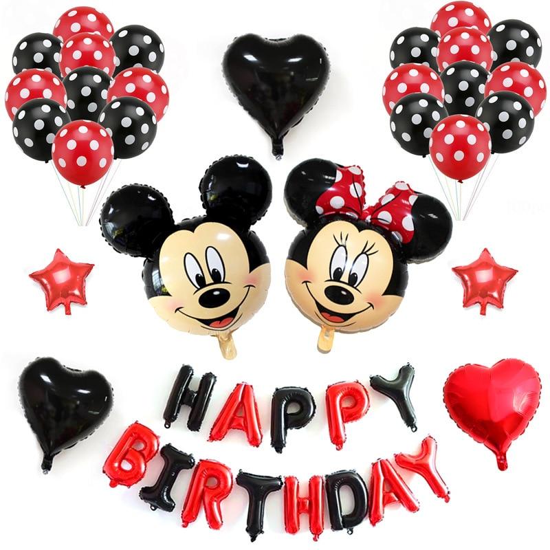 Mickey Minnie Mouse Gelukkige Verjaardag Brief Folie Ballonnen rood - Feestversiering en feestartikelen