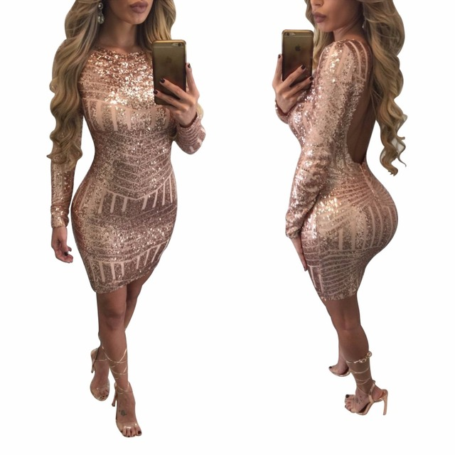 4af408bdb1c Long Sleeve O-Neck Backless Sequin Mini Dress Sexy Sheath Stiped Sparkling  Vestidos Cocktail Party Femme Robe Night Club Dress
