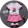 Verano de los Bebés Fija Sólido Shorts + Arco de Manga Corta blusa T-shirt Ropa de Los Cabritos Trajes de Los Niños de Dos Piezas Trajes ropa bebe