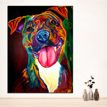 Large size Print Oil Painting pit bull olive Wall painting Home Decorative Wall Art Picture For Living Room paintng No Frame(China)