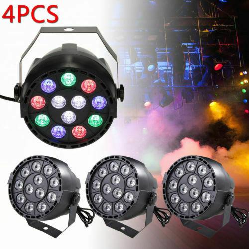 4X 12LED RGBW PAR Light Effects DMX512 Disco Stage Light Lighting DJ Strobe