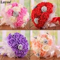 Luyueที่มีคุณภาพสูงPEดอกไม้ประดิษฐ์ดอกกุหลาบช่อ
