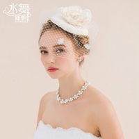 New Arrival Elegant Hand made Cotton Linen Pearl Flowers Grenadine Bridal Hat/Photo Props C980