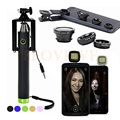 Teléfono kit de lentes lentes de ojo de pez clip universal gran angular macro lente para iphone samsung selfie stick monopie selfie flash luz