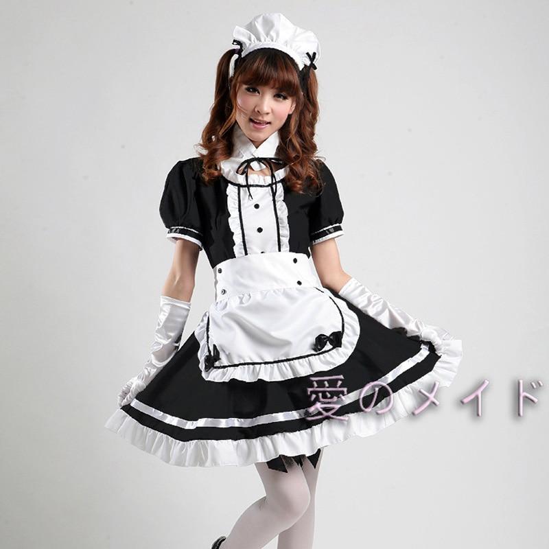 Women Girls Lolita Style Cute Coffee Maid Meidofuku ...