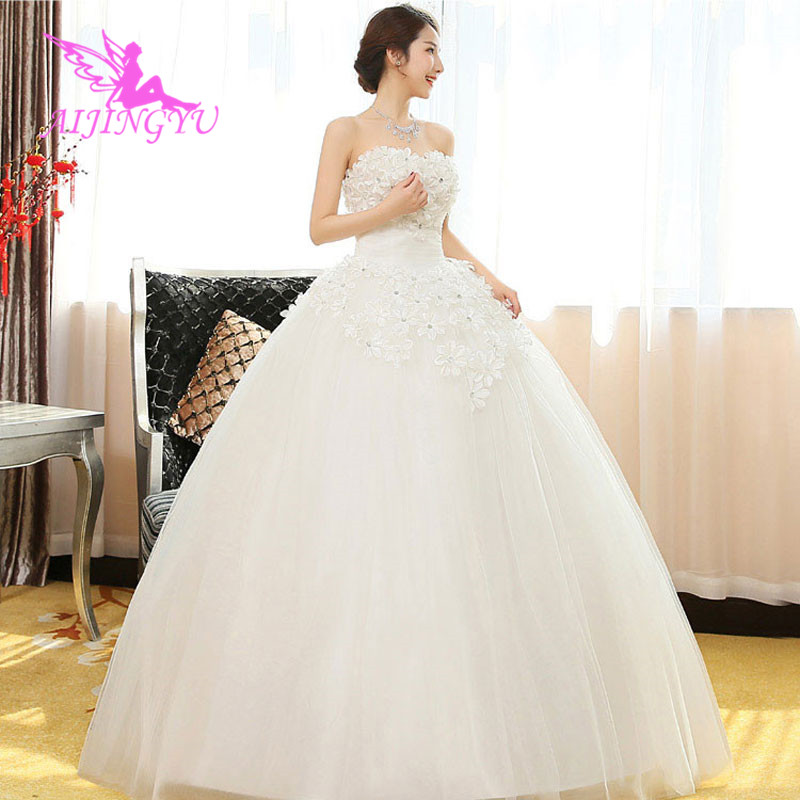 AIJINGYU 2018 Elegant Free Shipping New Hot Selling Cheap Ball Gown Lace Up Back Formal Bride Dresses Wedding Dress WK567