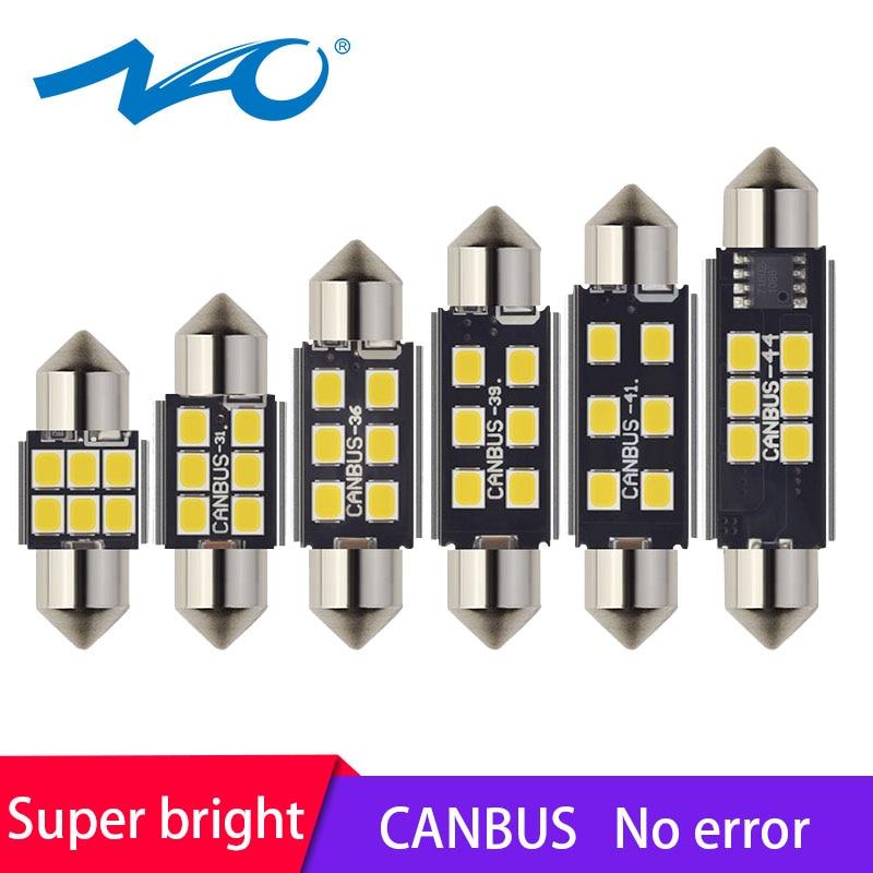 NAO 2x C5W led car CANBUS led auto Interior light Festoon 31mm C5W C10W led bulb 36mm 28mm 39mm 41mm 44mm 12V Signal Lamp white ceiling