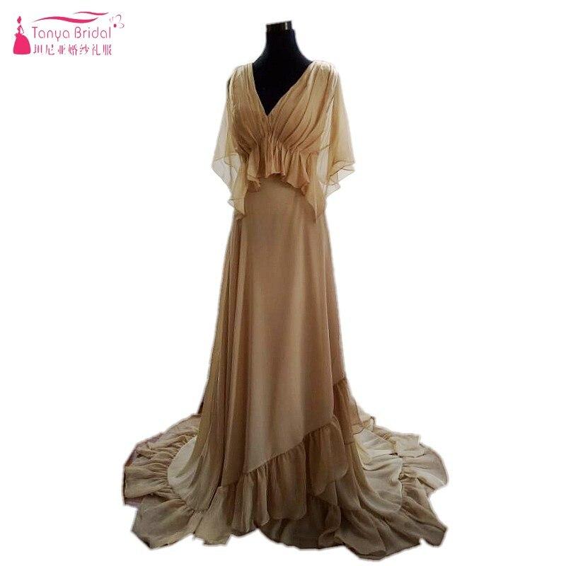 A Line Champagne Beach Wedding Dresses Silk Chiffon Long