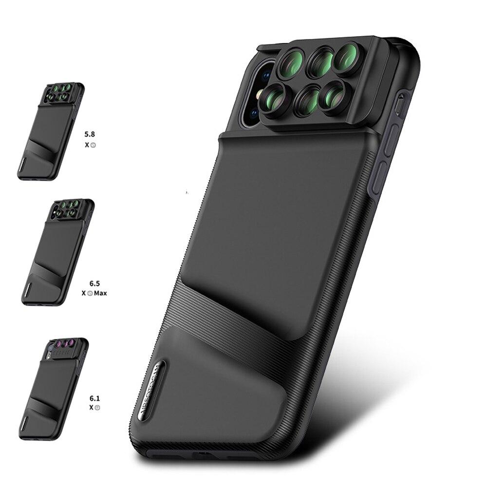 6 en 1 Design 4 effet spécial objectif pour Apple iphone XS XR XS MAX téléobjectif Macro Fisheye grand Angle housse de protection supplémentaire
