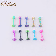 Sellsets Body Piercing Jewelry Mix 10pcs New Color 16G Stainless Steel Ball Lip Piercing Labret Rings Wholesale(China)