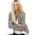 2016 Fashion Women Long Sleeve Single One Button Leopard Slim Fitted Spring Autumn Cardigan Tops Jacket Coat Outerwear CL2172