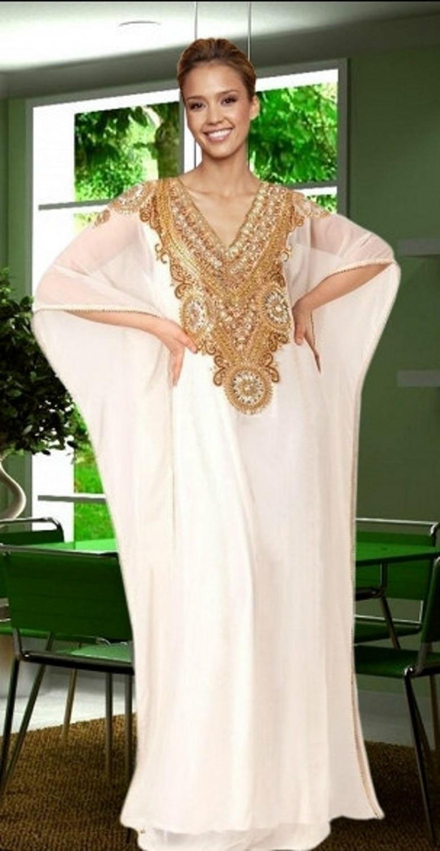 Buy gold and white dubai evening gowns for White kaftan wedding dress