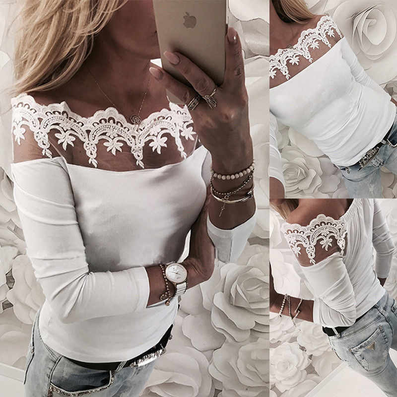 2018 Sexy Blusa de encaje camisa de manga larga blusas blancas florales blusas femeninas elegantes blusas de moda blusas de mujer