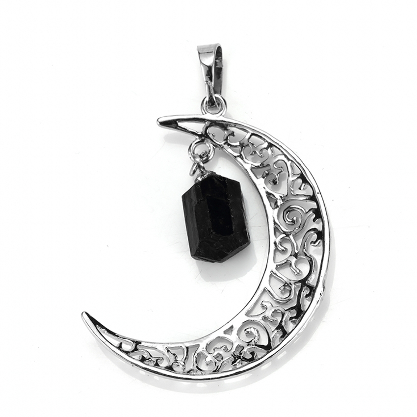 Natural Black Agate Crescent Moon Pendant Gemstone On Chain Necklace Jewellery