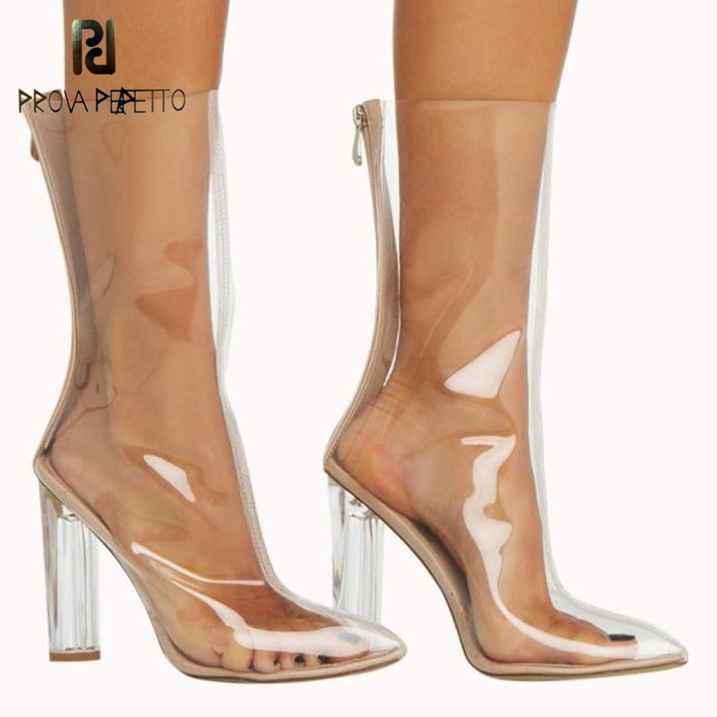 Prova Perfetto Zip Clear Transparent High Heel Boots See Through Heels Boots Chunky Heel Metal Sexy