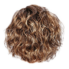 Factory price 1pc Women Fashion Lady Gold Curly For Head Short Wavy Parting Hair 30cm Wigs Stand Cosplay Fashion Jan9