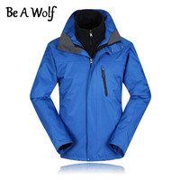 Be A Wolf Winter Hiking Jackets Men Polyester Outdoor Fishing Clothing Camping Skiing Rain Waterproof Windbreaker