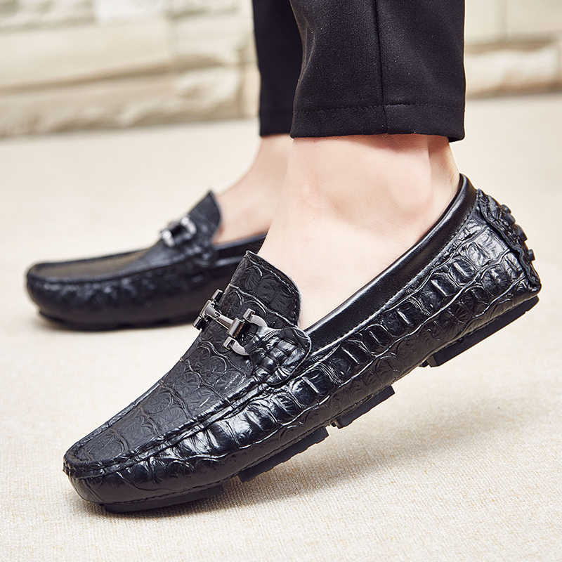 c628ea1f9d395 ... Classic Alligator Print Genuine Leather Men Boat Shoes Slip On Casual  Driving Shoes Moccasins Men Loafers ...