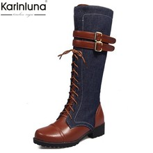 52e73ce8b 33-46 KARINLUNA Grande Tamanho Martin botas para Mulheres Sapatos Mulher  Botas de montaria denim