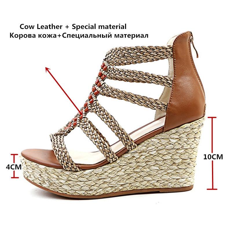 Ayakk.'ten Yüksek Topuklular'de FEDONAS Bayanlar Ayakkabı Moda Kadın Sandalet Yaz Bohemia Tarzı rahat ayakkabılar Süper Takozlar Topuklu Platform Ayakkabı Kadın'da  Grup 2