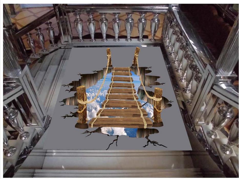 все цены на  3D Space wooden ladder Floor wallpaper 3d for linving room Waterproof floor mural painting self-adhesive 3D floor  онлайн