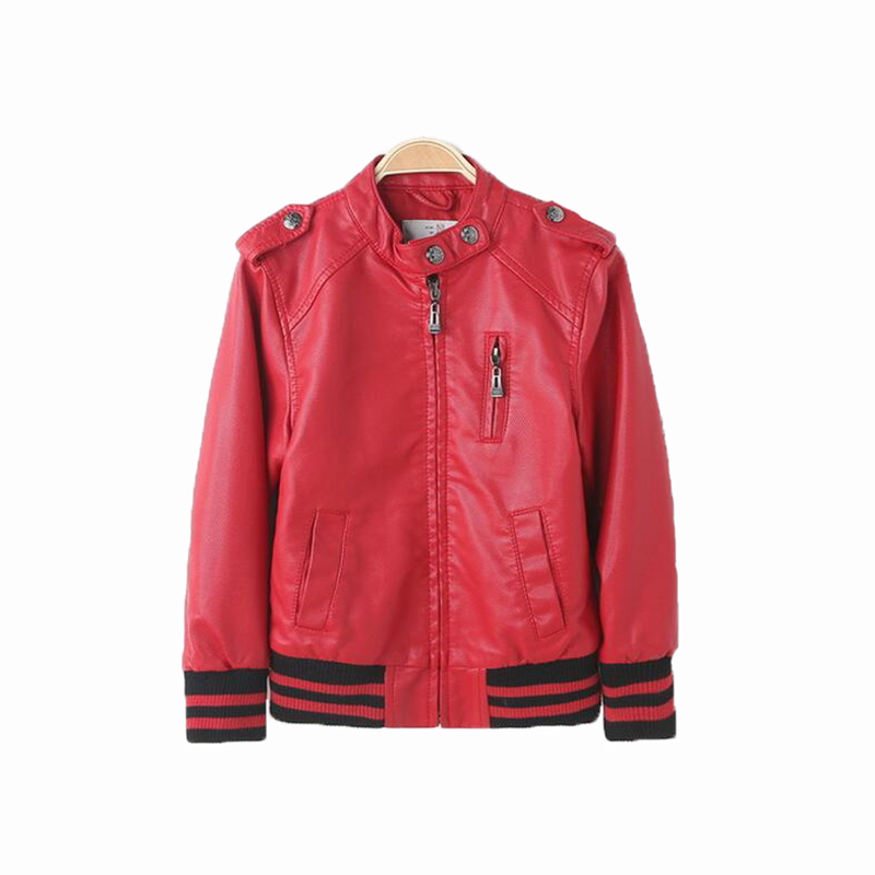104-152cm Spring Kids Jacket Motorcycle Leather Outerwear & Coats Baby Girl Leather Jacket PU Coat Boys Clothes For Children